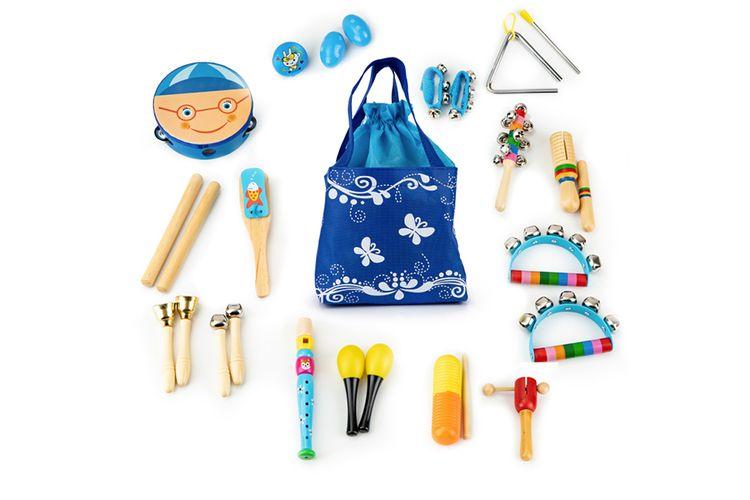 16 speelgoed-muziekinstrumenten met opbergtas