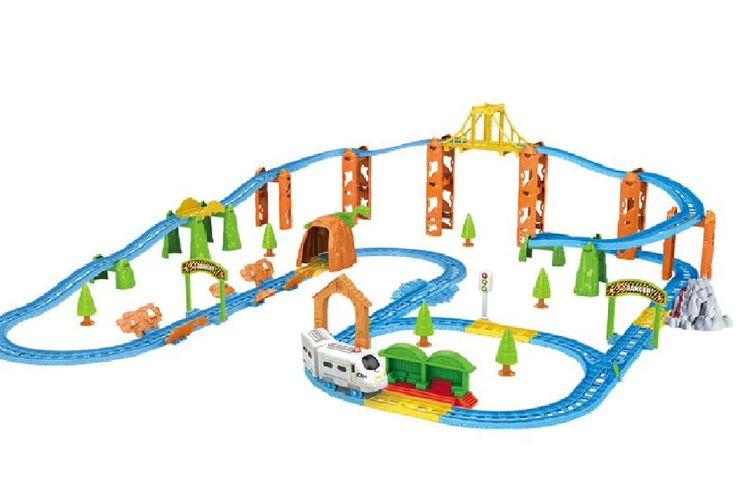 Speelset met elektrische trein en treinrails (125-delig)