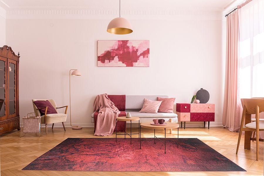 Rosékleurig vloerkleed (160 x 230 cm)
