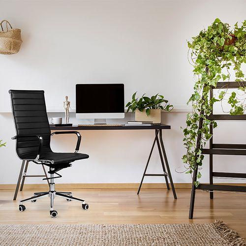 Verstelbare bureaustoel van PU-leer (zwart)