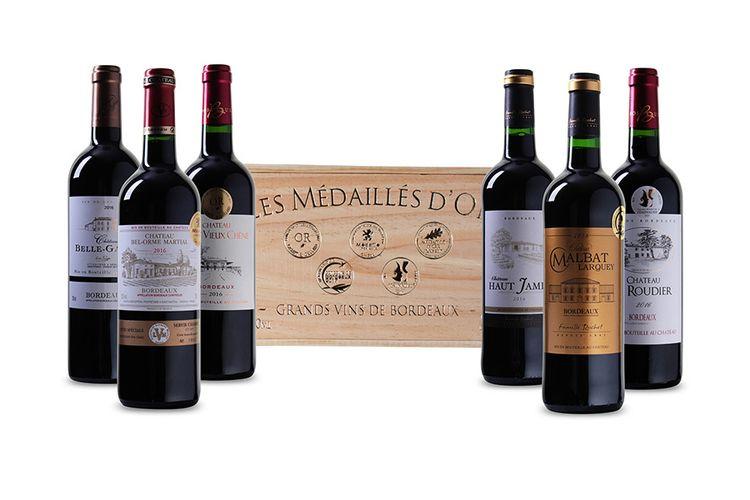 6 goudbekroonde wijnen uit de Bordeaux in luxe wijnkist