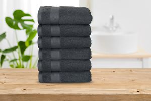 6 antraciete badhanddoeken van DROOG