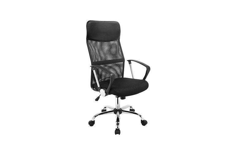 Korting Zwarte professionele bureaustoel met armleuningen