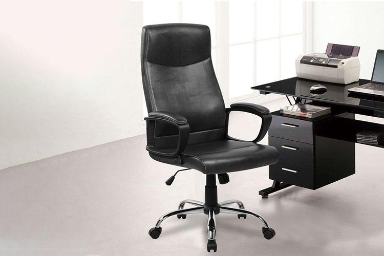 Zwarte bureaustoel van PU-leer (model: Augusto)