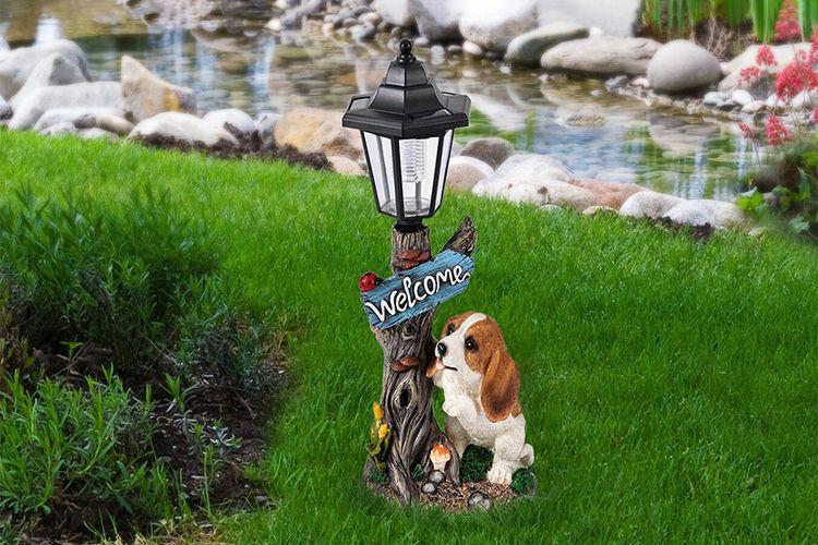 Buitenlamp op zonne-energie met hondje (Welcome)