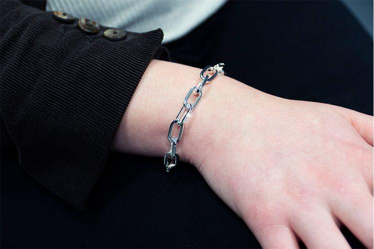 Korting Zilverkleurige schakelarmband van Di Lusso
