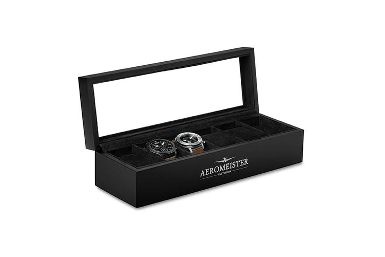 boite a montres bois bo te montres en bois pour ranger 6 montres noir vavabid. Black Bedroom Furniture Sets. Home Design Ideas
