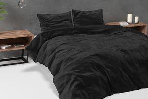 Zwart velvet dekbedovertrek (200 x 220 cm)