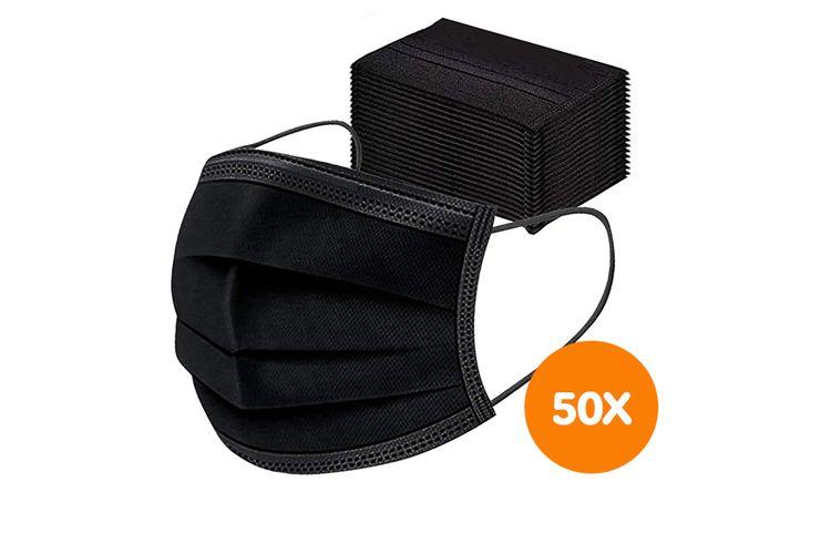 SlaJeSlag 50 zwarte mondkapjes (3-laags)