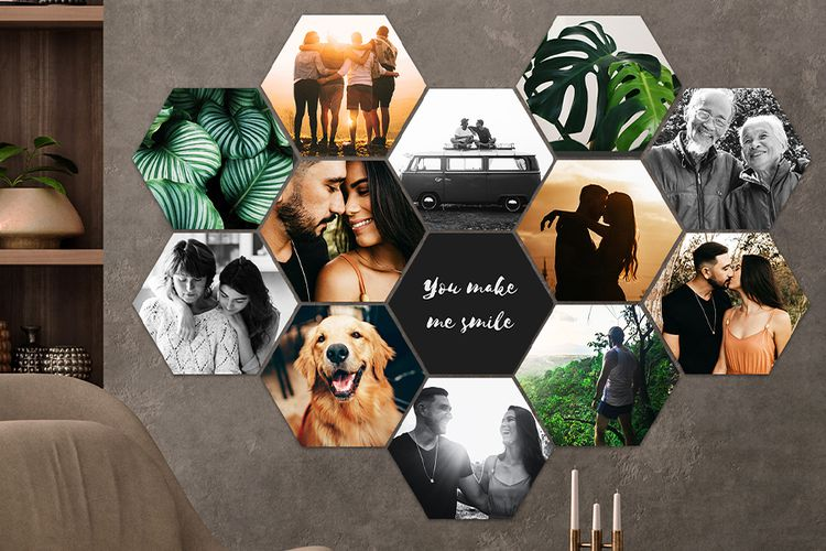 Korting Jouw foto s op een MuchoPix Hexagon (4 stuks 17 x 15 cm)
