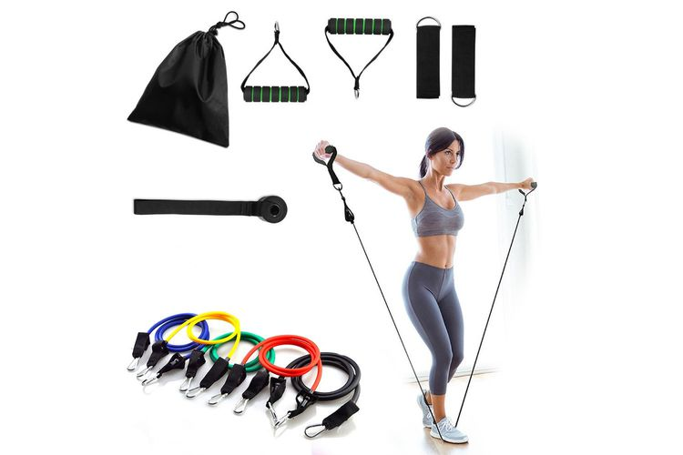 slajeslag 11-delige Fitness-set met o.a. 5 weerstandsbanden