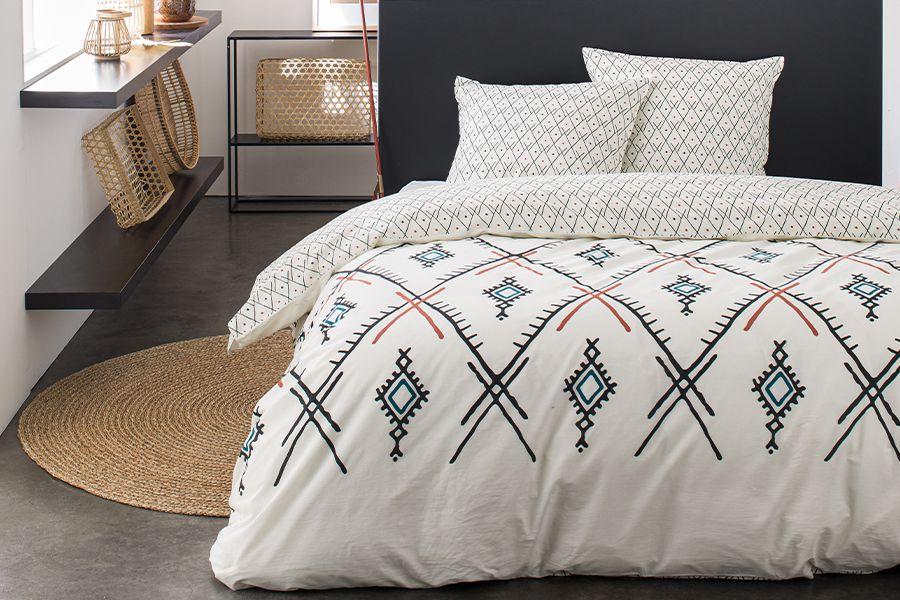 Katoenen dekbedovertrek met patroon (240 x 220 cm)