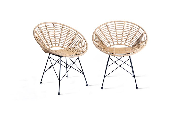 Korting Set van 2 rattan stoelen van Lifa Living (naturel)