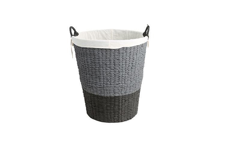 Panier linge gris noir panier linge en osier gris et noir 46 x 50 cm vavabid - Panier a linge osier gris ...