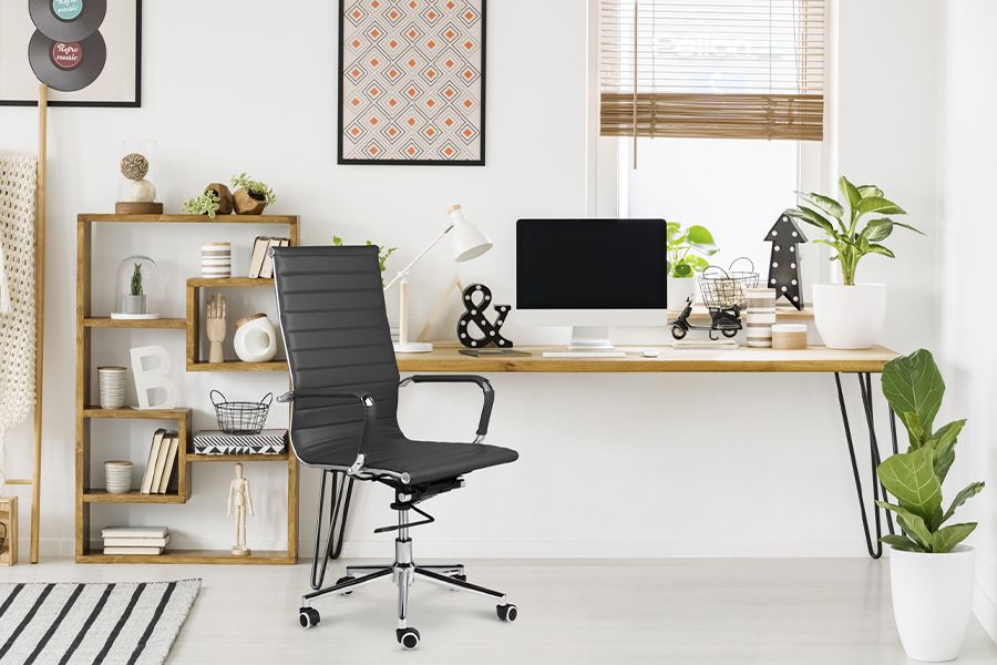 Donkergrijze bureaustoel van PU-leer (model: Brisbane)