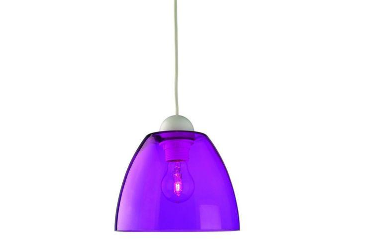 Paarse hanglamp van Massive met glazen kap (� 19,8 cm)