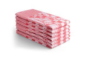 6 keuken handdoeken met tulpen print (65 x 65 cm)