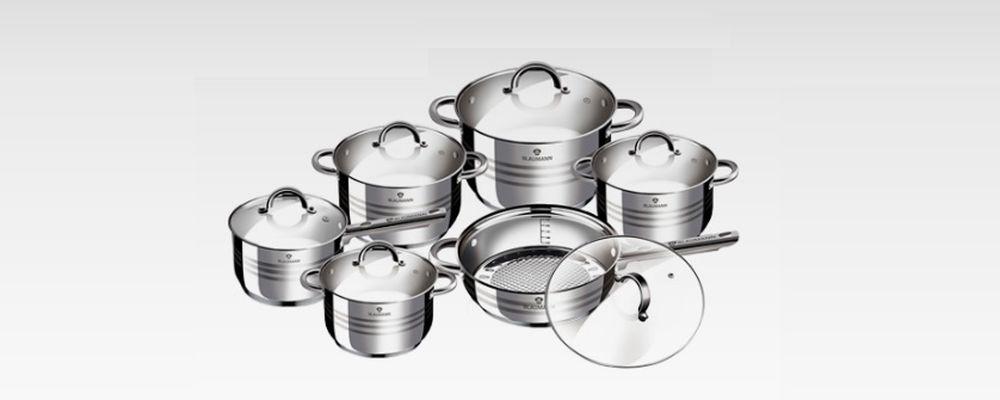 12-teiliges Kochtopfset aus Edelstahl von Blaumann