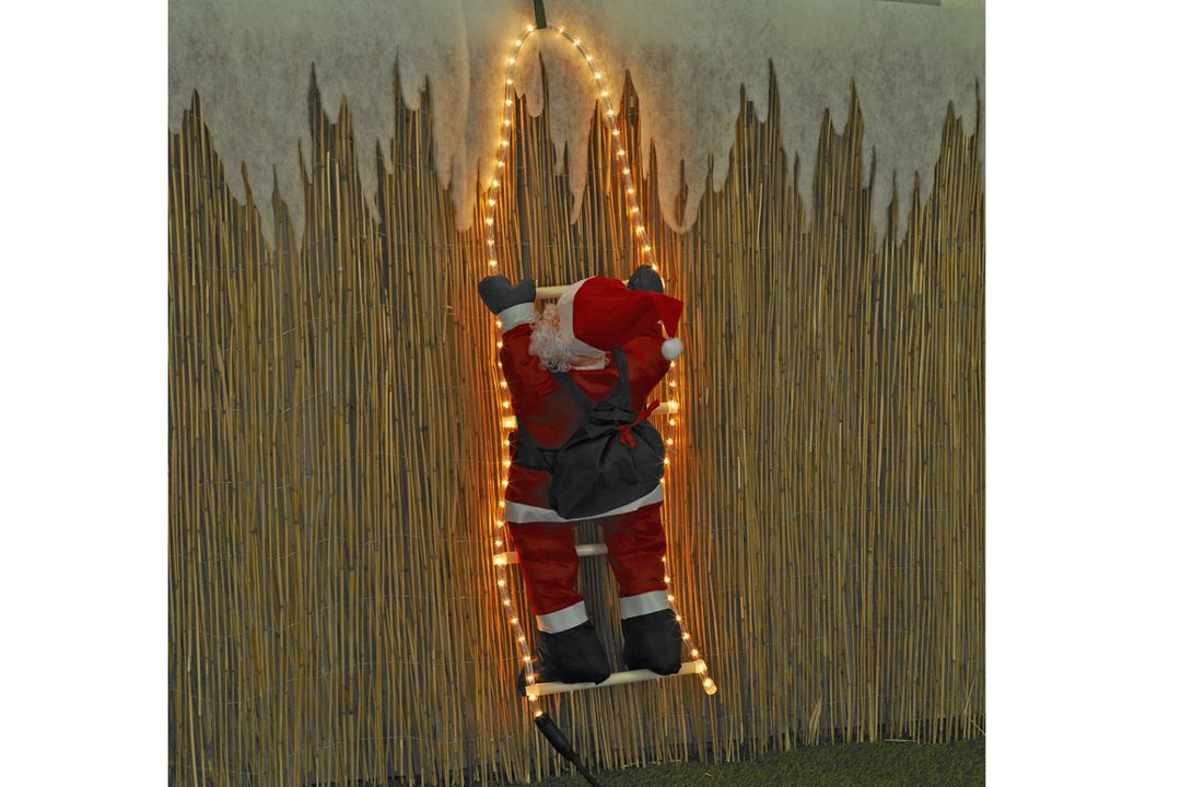 Kerstman op een LED verlichte ladder (60 cm)