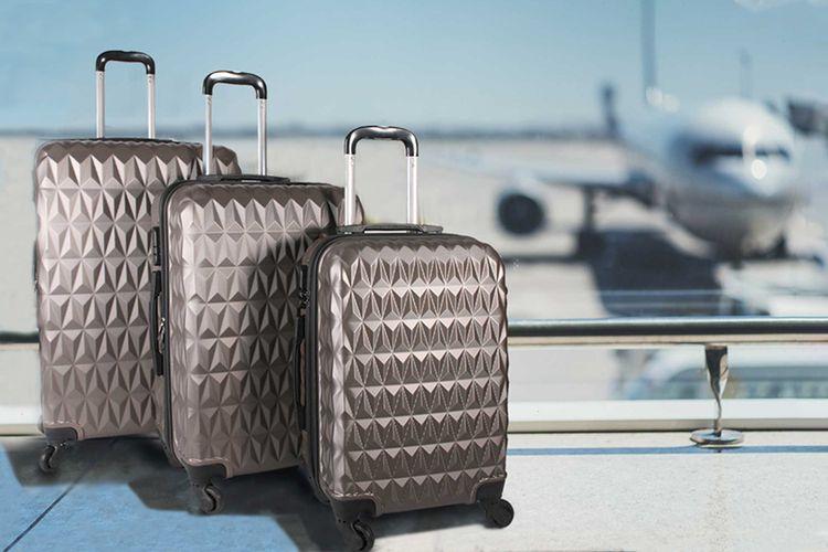 3-delige ABS kofferset met zigzag motief (brons)
