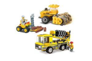 3 bouwvoertuigen van Blocki-bouwstenen