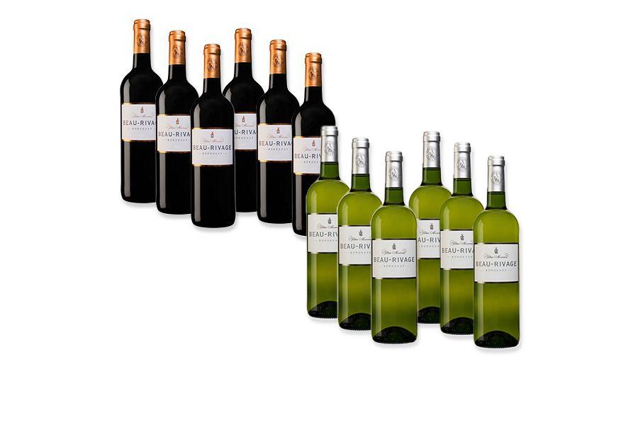 Keuze uit 6 flessen wijn: Bordeaux rood of wit