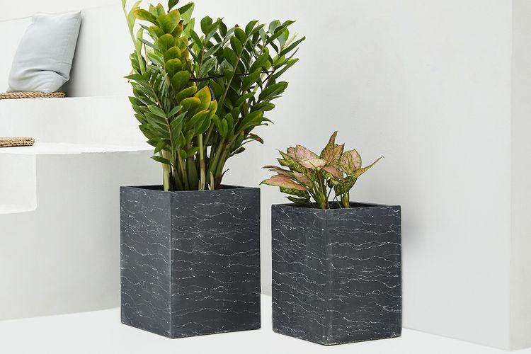Set van 2 fiberclay plantenpotten (model: Tower)