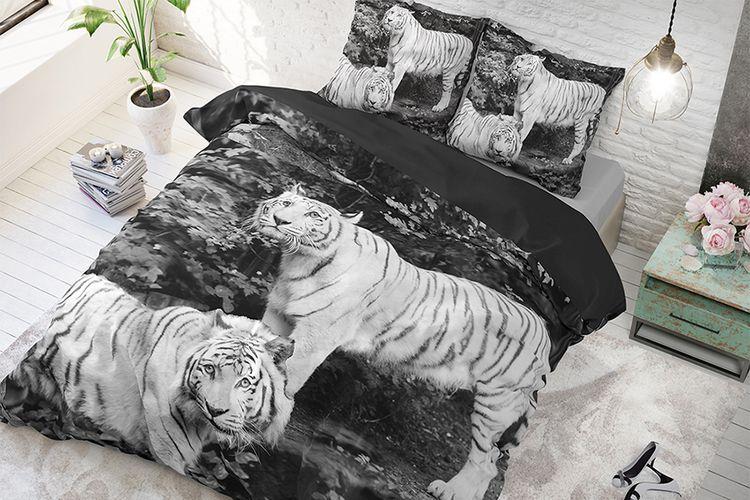 Dekbedovertrek Tigers Grey (200 x 200 - 220 cm)