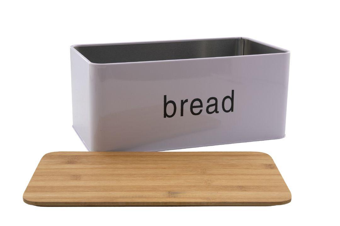 Witte broodtrommel met bamboe deksel