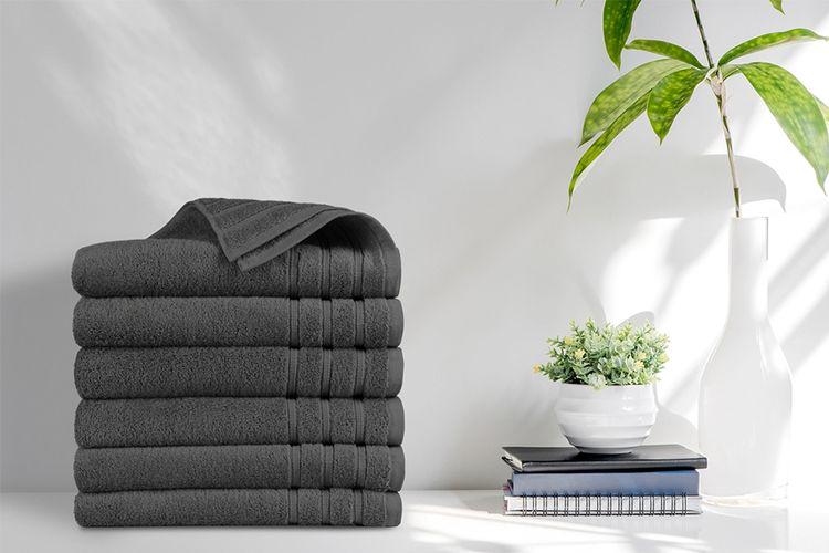 6 luxe antraciete handdoeken van EMSA Bedding (70x140cm)