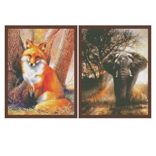 2 diamond painting-sets: vos en olifant