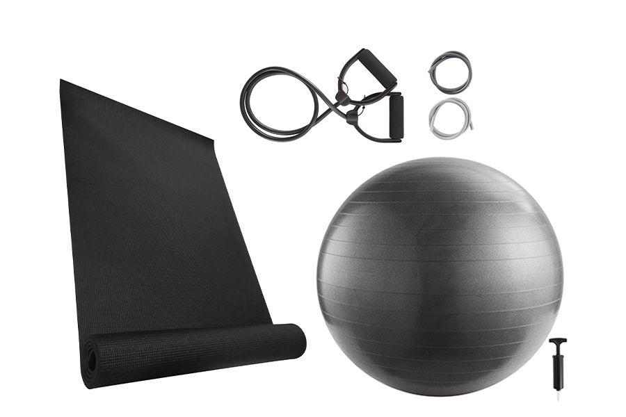 Yoga-starterspakket: yogamat, yogabal en elastieken