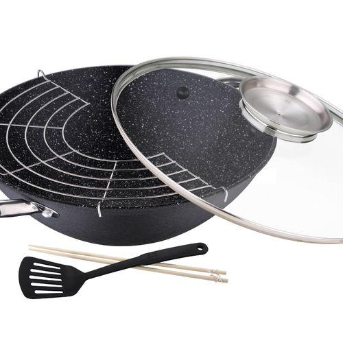 Gietijzeren wokpan met deksel van Masterpro (� 28 cm)