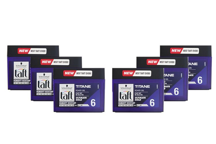 6 potten Power Gel Titane van Taft (250 ml)