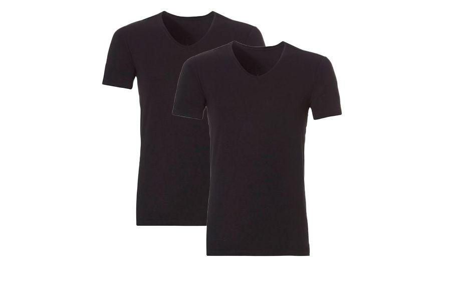 2 zwarte bamboe v-hals shirts van L. ten Cate (maat: M)