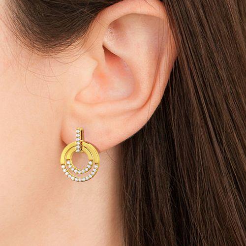 Goudkleurige oorbellen met zirkonia's van Yolora
