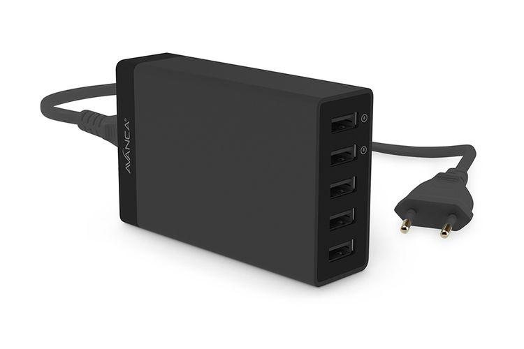 USB-HUB met 5 poorten van Avanca (zwart)