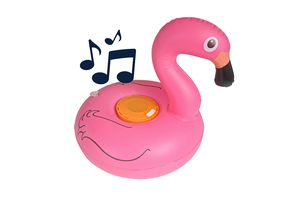 Opblaasbare flamingo met speaker en drankhouder