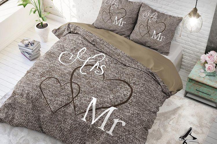 mrs 200 housse de couette housse de couette en coton mrs and mr 200 x 220 cm vavabid. Black Bedroom Furniture Sets. Home Design Ideas