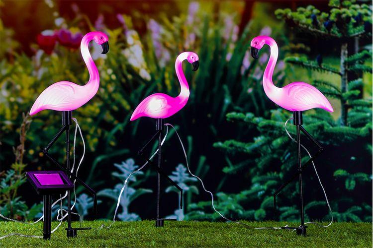 3 decoratieve solar-flamingo's (20 x 6 x 52 cm)