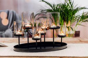 Zwarte kaarsenhouder voor 7 kaarsen