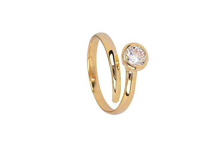Goudkleurige multimaat-ring met zirkonia van Di Lusso