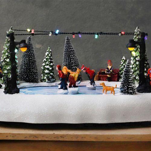 Kerstdecoratie schaatsbaan (afmeting: 32 x 24,5 x 14,5)