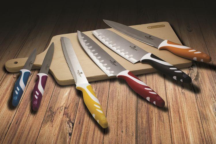 Blaumann lot couteaux 12 pieces 6 couteaux color s avec for Protege couteau cuisine