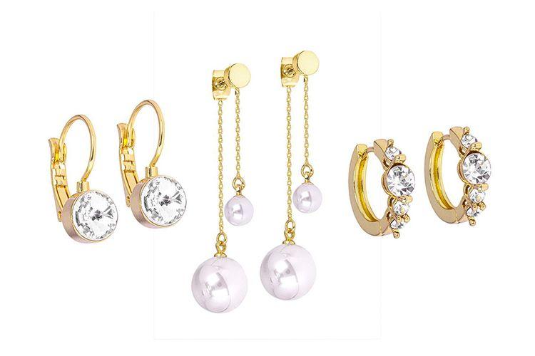 Set van 3 goudkleurige oorbellen van Di Lusso