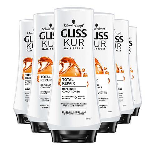 6 flessen conditioner van Gliss Kur (200 ml)