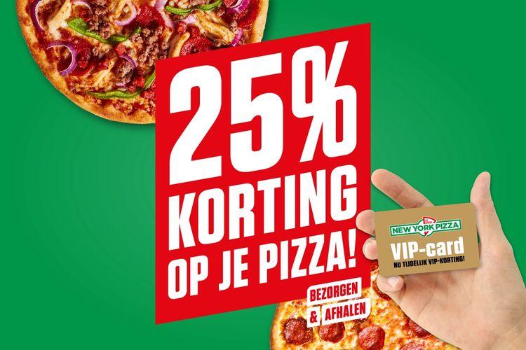 New York Pizza VIP card: bestel pizza met 25% korting