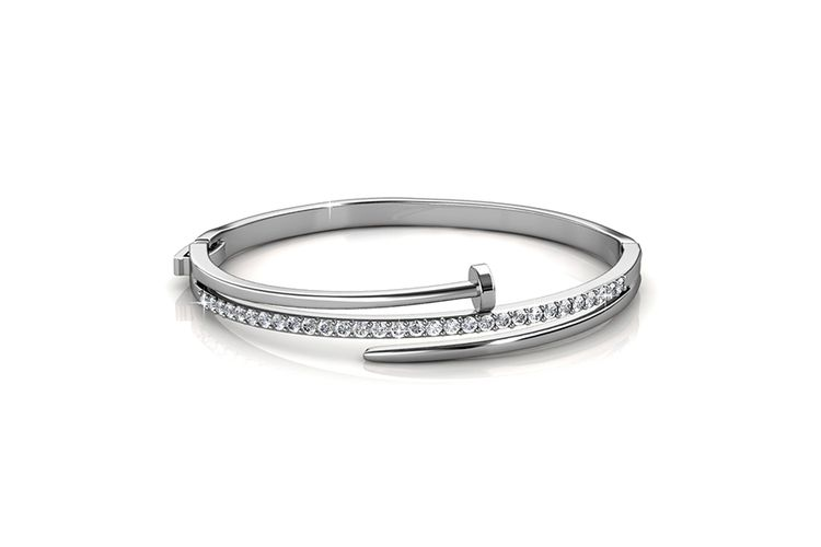 Korting Zilverkleurige bangle armband