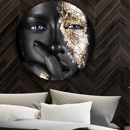 Zwart met gouden wandcirkel 60 x 60 cm (18 varianten)