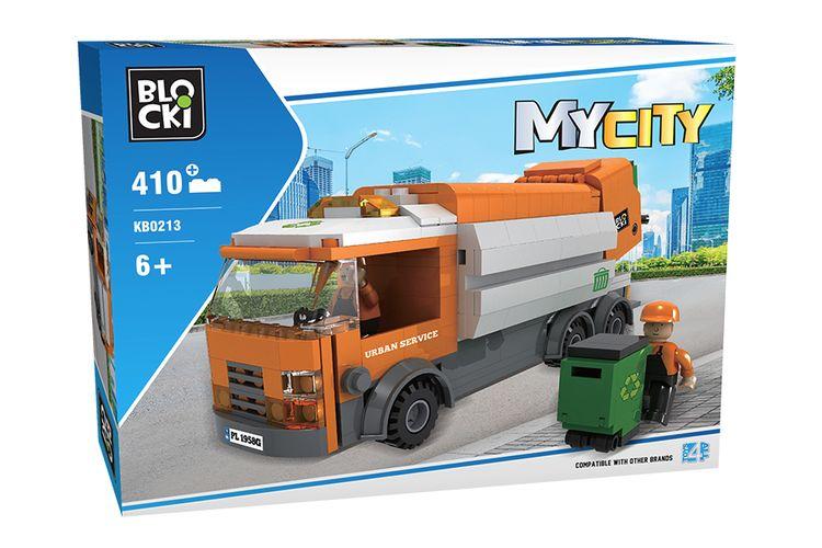 Vuilniswagen met vuilnisman van Blocki-bouwstenen